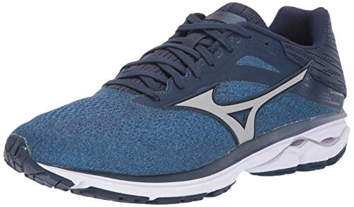 Mizuno Men's Wave Rider 23 Running Shoe, Campanula-Silver, 10.5 D US