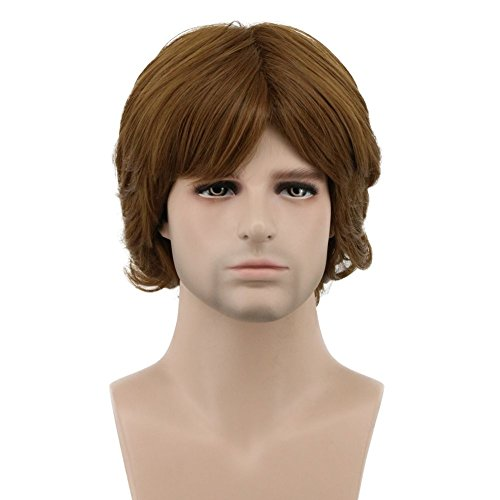 Karlery Men's Short Wave Brown Wig Halloween Cosplay Wig Costume Party Wig]()