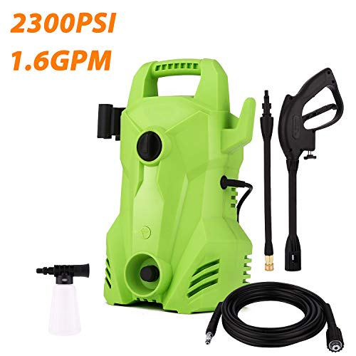 Rendio 2300 PSI 1.6 GPM Compact Electric Pressure Washer, 1400W Portable Electric Power Washer with External Detergent Dispenser,3 Nozzles