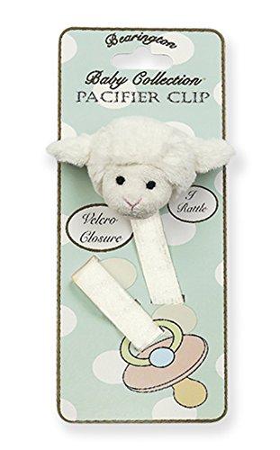 Bearington Baby Lamby Plush Lamb Pacifier Holder with Satin Leash and (Lamb Strap)