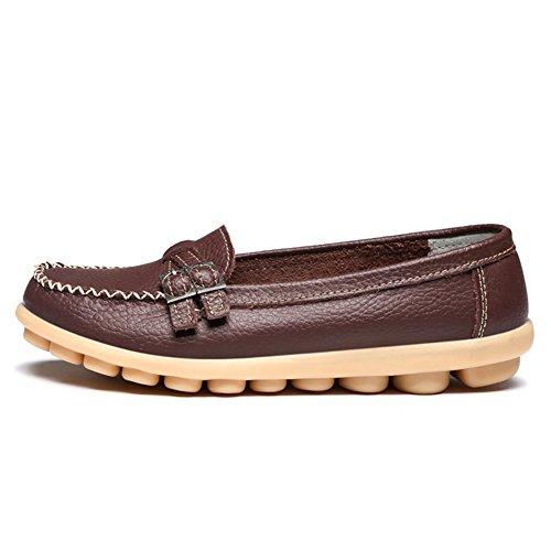 LINGTOM Damen Casual Leder Loafers Driving Mokassins Wohnungen Schuhe Braun