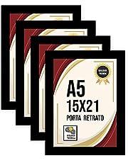 Kit 4 Porta Retrato 15x21 Moldura Laminada Fosca c/Vidro Comum
