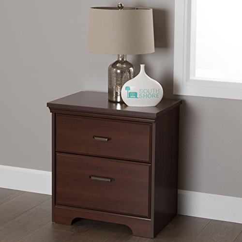 Bedroom Cherry Bedroom Set - South Shore Versa 2-Drawer Nightstand, Royal Cherry with Antique Handles