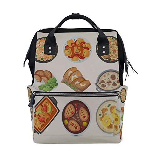 (Delicious Food Dinner Cartoon Large Capacity Diaper Bags Mummy Backpack Multi Functions Nappy Nursing Bag Tote Handbag for Children Baby Care Travel Daily Women)