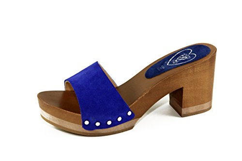 SilferShoes - Zoccolo in vero legno e pelle di camoscio, colore blue