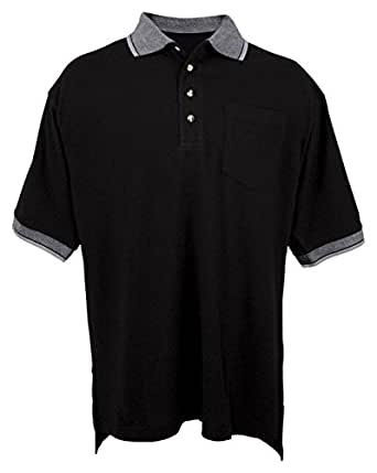 Tri-mountain 60/40 pique pocketed golf shirt with trim. - BLACK / IVORY - X-Small