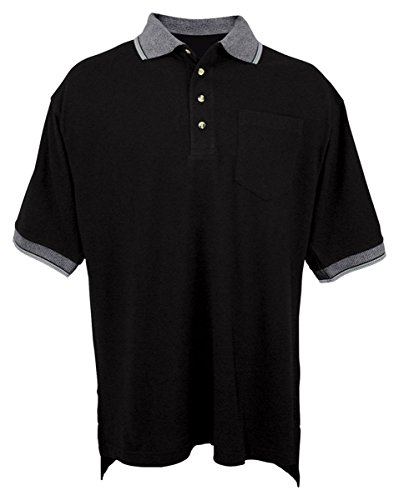 Tri-Mountain Men's Teammate Stylish Golf Shirt Black/Ivory 5XL