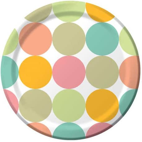 Fun Dots 8-Count Round Paper Banquet Plates