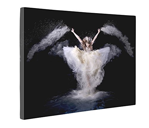 Niwo ART (TM) - White Skirt Dancing Angel - Ballet Dancing Series. Modern Abstract Oil Painting Reproduction. Giclee Canvas Prints Wall Art for Home Decor, Stretched and Framed Ready to (2)