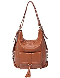 SAIERLONG Women's Tote Single Shoulder Bag Handbag Brown Cow Leather
