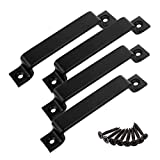 6-1/2 Inch Sliding Barn Door Handle Pull, CBTONE 4 Pack Black Steel Pull Handle for Sliding Barn Doors Gates Garages Sheds Closets