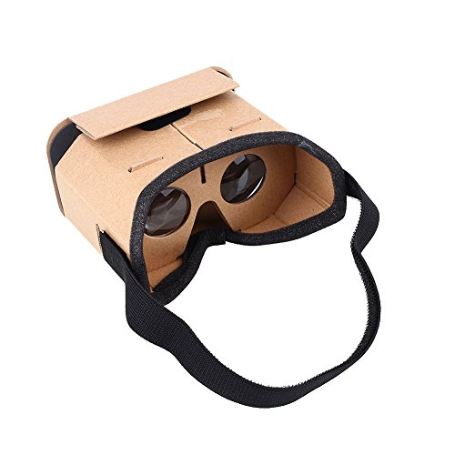 Cewaal Goggles Cardboard Headset 3D Virtual Reality VR Glasses for Android Smartphone iPhone + NFC and Head-strap BROWN