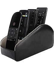 حامل جهاز التحكم عن بعد من موكو، منظم جهاز تحكم عن بعد للتلفزيون من الجلد، 5 مقصورات لأجهزة التحكم عن بعد، لوازم المكاتب، تخزين الملحقات الإعلامية ومنظمها - باللون الأسود