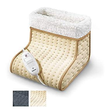 Beurer-FW20-Cosy-calientapies-apto-para-pies-grandes-calentamiento-ultrarapido-suave-transpirable-interior-lavable-a-mano-3-potencias-display-iluminado-32-x-26-x-26-cm-crema-y-blanco