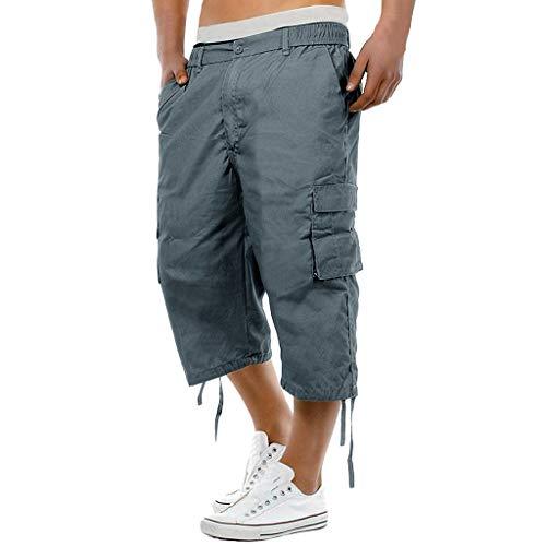 iHHAPY Mens Cargo Pant Fashion Elasticated Waist Drawstring Pants Loose Combat 3/4 Long Knee Length Shorts Work Pants Blue