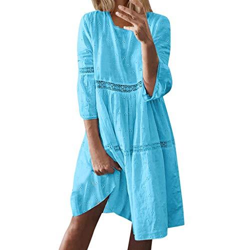 Women's Beach Crochet 3/4 Sleeve Pure Color Bohemian Crew Neck Hollow Midi Long Dress Blue