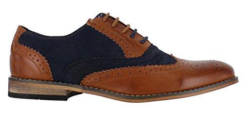 Tan informali o da uomo camoscio finto eleganti scozzesi Scarpe classiche lacci con Navy in Pqnvx71wp