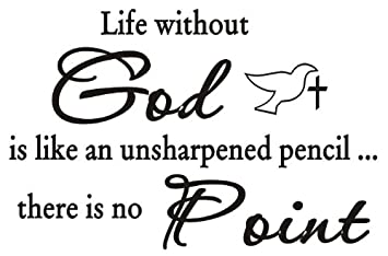 Life Without God Wall Art Vinyl Quotes Family Lettering Home Art