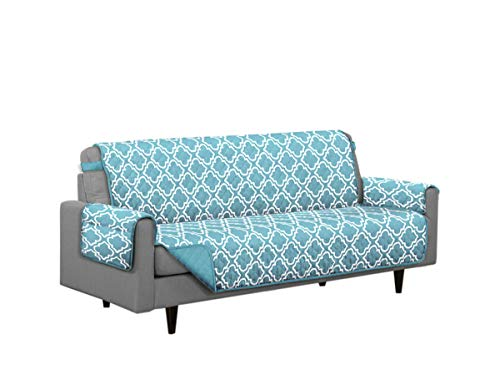 Austin Reversible Solid/Print Microfiber Furniture Protector With Strap & Side Pockets (Sofa, Turquoise)