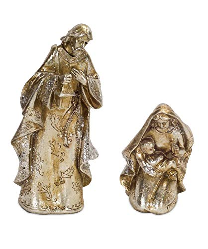 Diva At Home Pack of 2 of a Set of 2 Holy Family Polystone Christmas Statues 9.5