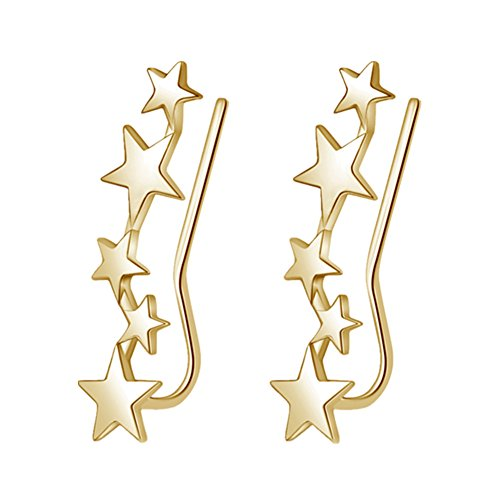 - YAN & LEI Sterling Silver Mix Linked Stars Sweep up Ear Pin Crawler Cuff Wrap Climber Earrings