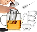 Glass Teapot Set with Infuser for Loose Tea   Stove Top Safe Borosilicate Clear Glass Tea Pot with 4 Small Tea Cups, Silicone Trivet, Cleaning Brush   the Perfect Tea Set for Gift or Entertaining