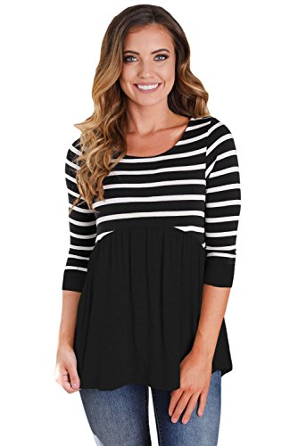 Women's Casual Striped Contrast 3/4 Long Sleeve babydoll Tunic Top Blouse Shirts Newest