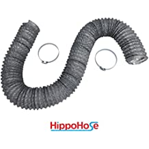 Dryer Vent Hose Transition Duct 4 inch by 12 foot - 2 Premium Screw Clamp Connections - Extra Strong Aluminum Interior and Flexible Tear Resistant PVC Outer Shell - HVAC or Grow Room Heat Ventilation