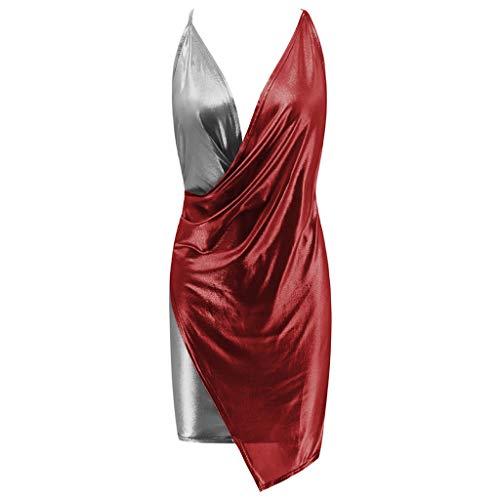 Donna Scollo Con Vestito A Eleganti Sera Maniche Senza Paillettes Corti Avvolgente vestito Elegante Da Corto Argento Maniche V vestiti t1wvqwS