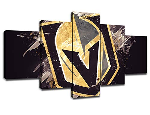Chicicio Vegas Golden Knights Poster Wall Decor for Living Room Painting 5 Piece NHL Hockey Team LogoCanvas Prints Wall Art Picture Decoration for Home Poster with Frame Ready to Hang(60''Wx32''H)