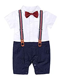 MetCuento Baby Boys Tuxedo Rompers Suit Bowtie Gentlement Outfit Christening Wedding Outfits Set