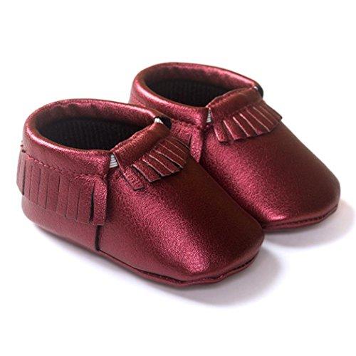 Clode® Premium Leder Lauflernschuhe Krabbelschuhe Babyschuhe weiche Sohle Krippe Schuhe Sneaker Neugeborene 0-18 Monate Wein