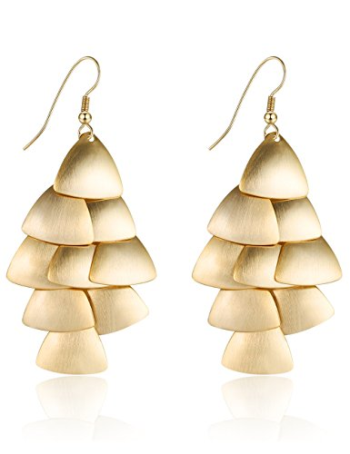 XZP Chandelier Women Drop Earrings Layers Fashion Tiered Dangle Earing Jewelry Gold Plated (Dangling Chandelier Earrings)