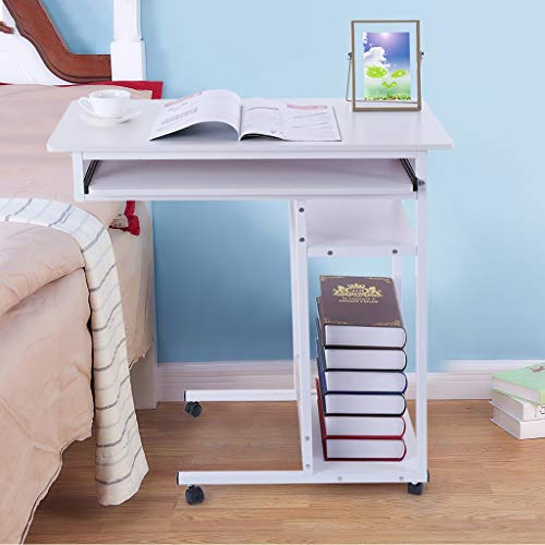 Sodoop Bedside Laptop Table, Modern Wooden PC Laptop Desk,Four-Tier Storage Placed Keyboard Sofa Side Mobile Table