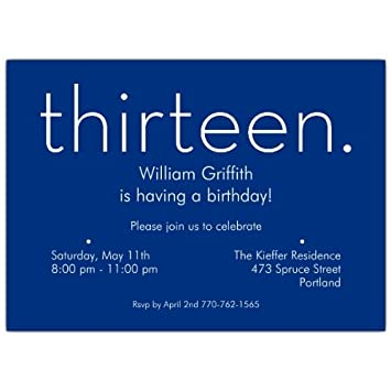 Image Unavailable Not Available For Color Thirteen Blue 13Th Birthday Invitations