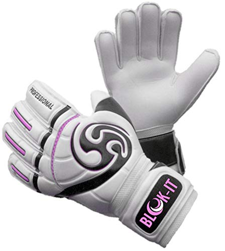 Blok-IT Goalkeeper Gloves Goalie Gloves-Make The Toughest Saves-Secure and Comfortable Fit-Extra Padding,ReducedChance of Injury (Pink, Size 11=Adult-XL)