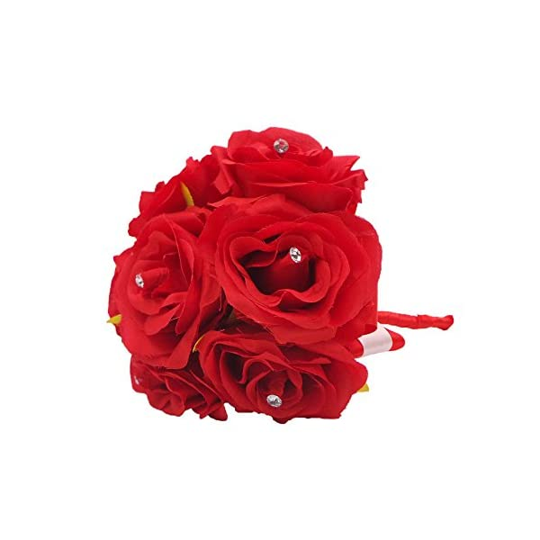 Abbie Home Handmade Bridesmaid Bouquets Rose Rhinestone Wedding Artificial Silk Flower-4pcs-Red