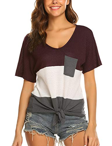 OURS Women's Short Sleeve Loose T Shirt Basic Tee Tops with Tie Front Wine Red ()