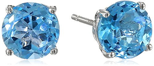 14k Gold 7mm Round Swiss Blue Topaz Studs