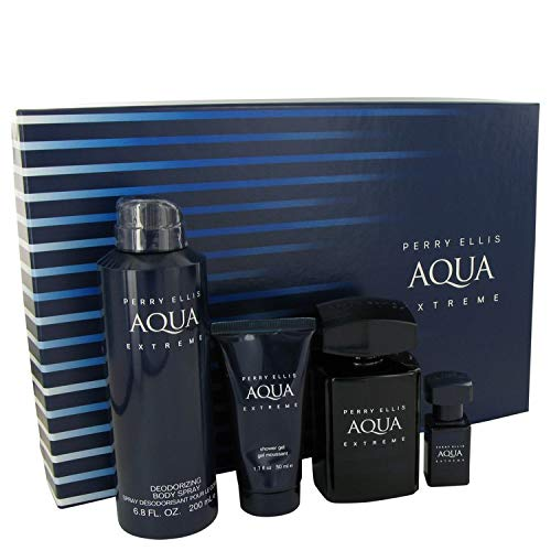 Pèrrÿ Ellíš Aqua Extreme by Pèrrÿ Ellíš for Men Gift Set - 3.4 oz Eau De Toilette Spray + .25 oz Mini EDT Spray + 6.8 oz Body Spray + 1.7 oz Shower Gel ()