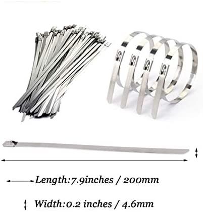 Tiberham Stainless Steel Cable Ties 200 X 4 6 Mm Metal Cable Ties High Quality 316 Marine Grade Metal Steel Band Heat Protection Tape Exhaust Tape For Home Office Workshop Workshop Workshop Baumarkt