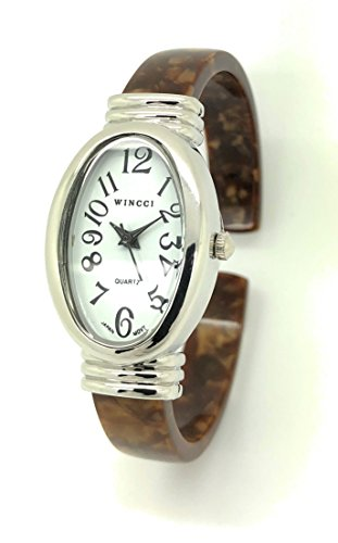 Ladies Silver Case Oval Acrylic Bangle Cuff Fashion Watch White Dial Wincci (Brown)