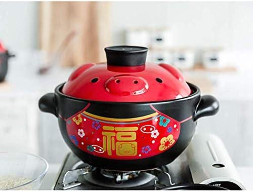 LIUSHI Cocotte en céramique de Porc Chinois à Double Couvercle, marmite en Argile Pot à ragoût Soupe Pot Chaud ménage gaz poignée d'oreille marmite Noir 21 oz (600 ML)