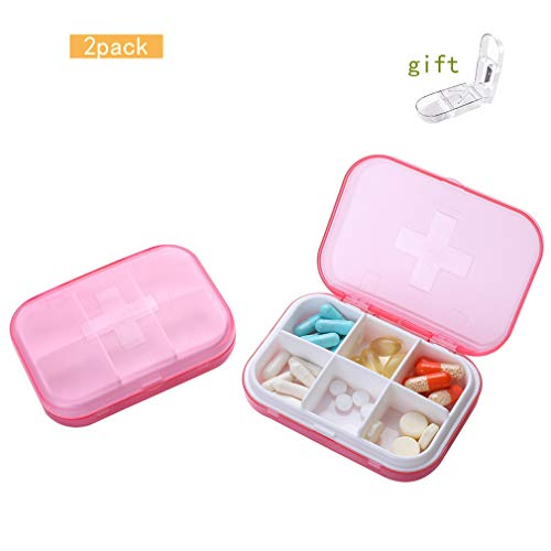 INSHA 2 Pack Travel Pill Organizer 3 Times a Day Pill Holder Medicine  Dispenser 6 Compartment Portable Pill Case Large Capacity Hold Vitamins,  Fish