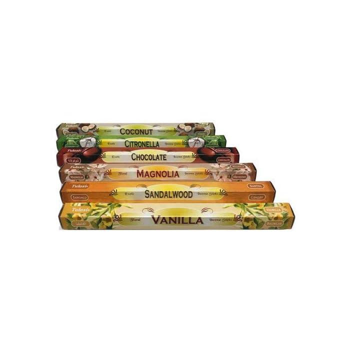 414i4fiGlXL ✅【SURTIDO INCIENSOS】: Varitas y palitos de incienso Tulasi de larga duración e intenso aroma. Agradable olor, muy fresco. Varitas de Incienso de Aromaterapia. ✅ 【LOTE INCIENSOS】: Cada lote de inciensos contiene 6 fragancias diferentes, 20 varitas de incienso por aroma, total 120 inciensos. ✅【AROMATERAPIA】: Recibirá las siguientes inciensos de aromaterapia EXACTOS: Vainilla, Sándalo, Magnolia, Chocolate, Citronela y Coco.