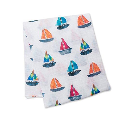 Lulujo Baby Cotton Muslin Swaddle Blanket, Sailboat, 47 x 47-Inch -