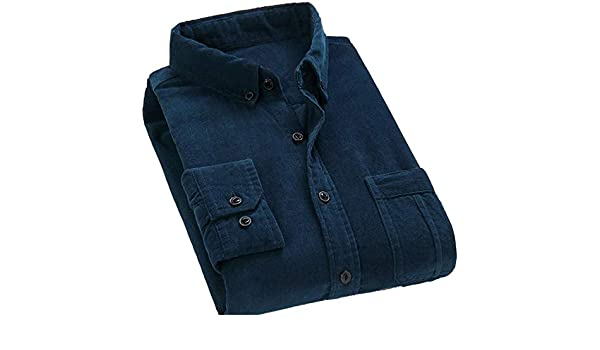 Wofupowga Mens Solid Casual Corduroy Long-Sleeve Easy Care Shirts