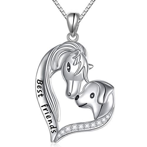 Love Horses Pendant - S925 Sterling Silver Engraved Best Friends Jewelry Horse Shepherd Dog Head Love Heart Pendant Necklace Gift for Women Girls Friends