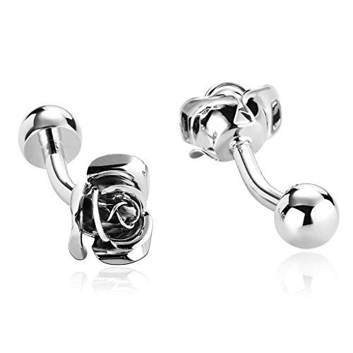 Alimab Jewelry Men's Cuff Links Fashion Elegant Rose Flower Silver - Stainless Steel Men - Tm Lewin Eu