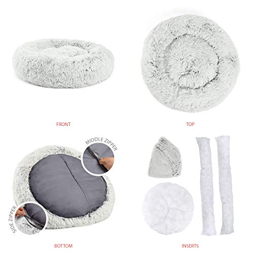 Best Friends by Sheri Luxury Shag Fur Donut Cuddler (30x30 Zippered, Frost) – Medium Round Dog & Cat Cushion Bed, Removable Shell, Warming, Cozy - Prime, Machine Washable - Medium Pets Up to 45lbs by Best Friends by Sheri (Image #2)